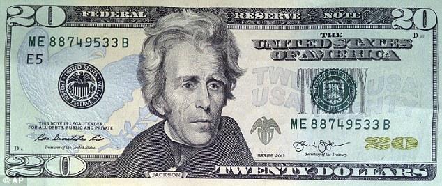 Hình Andrew Jackson trên tờ 20 đô hiện nay. (AP)