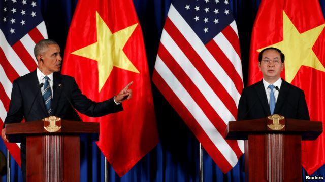 Obama và Trần Đại Quang trong cuộc họp báo chung ngày 23/5/2016. (Ảnh: Reuters)