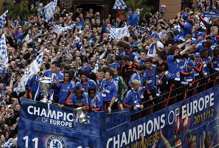 Chelsea paraded the European Cup and the FA Cup through the streets in front of thousands of fans in 2012 ((Photo credit: DailyMail)