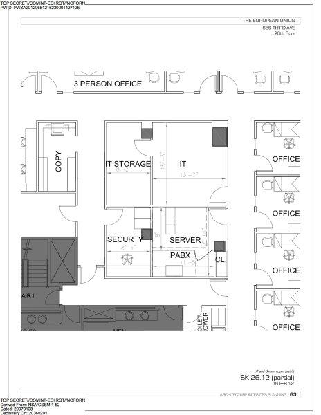Các máy chủ của phái bộ EU tại Liên Hiệp Quốc ở New York nằm ở tầng 26. NSA lấy được sơ đồ mặt bằng các văn phòng vào mùa thu 2012.
