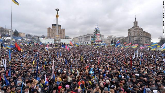 Biểu tình ở Quảng trường Độc lập, Kiev, ngày 8/12/2013.