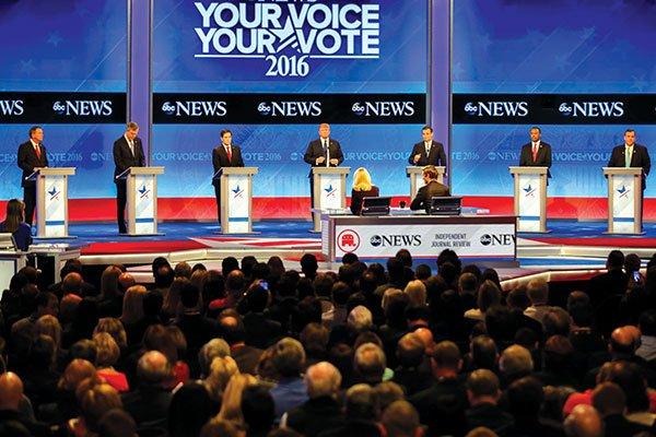 Các ứng viên Đảng Cộng hòa tranh luận tại vòng bầu cử sơ bộ của đảng tại bang New Hampshire. (Ảnh: AP)